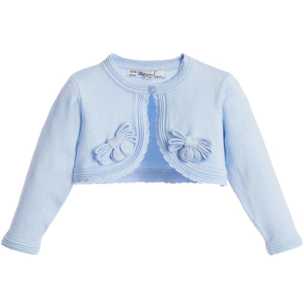 Baby girls light blue bolero cardigan by Mayoral Chic. | for baby ...