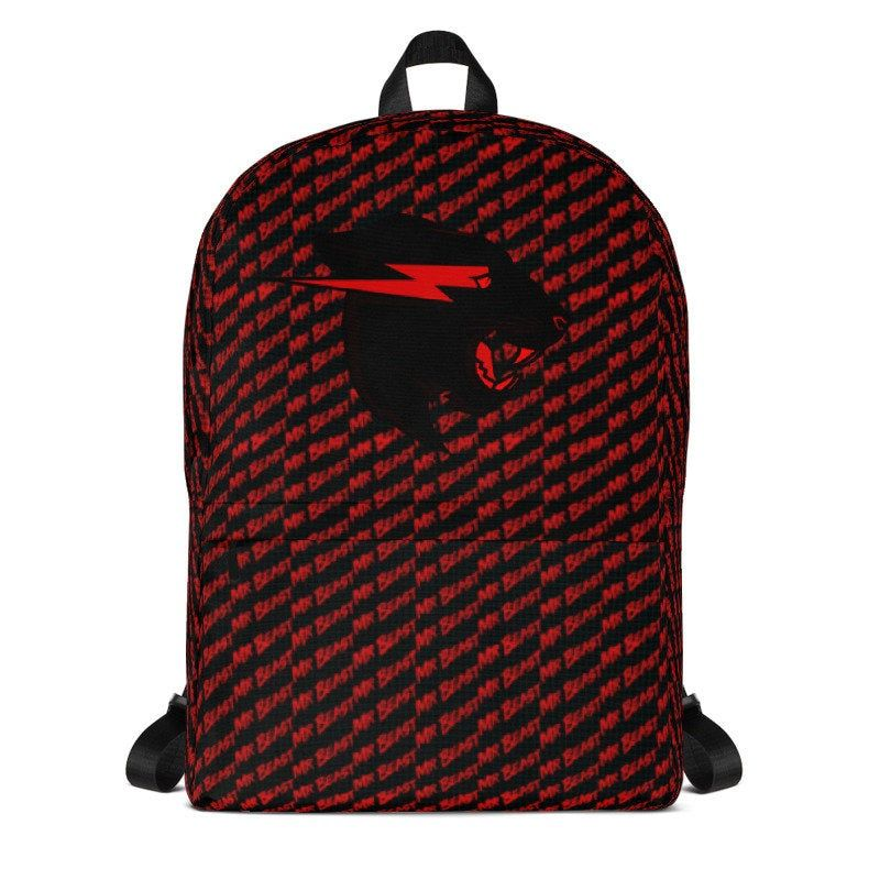 e35bd1098c9f mrbeast Backpack black red edition mr beast back pack youtube fan ...