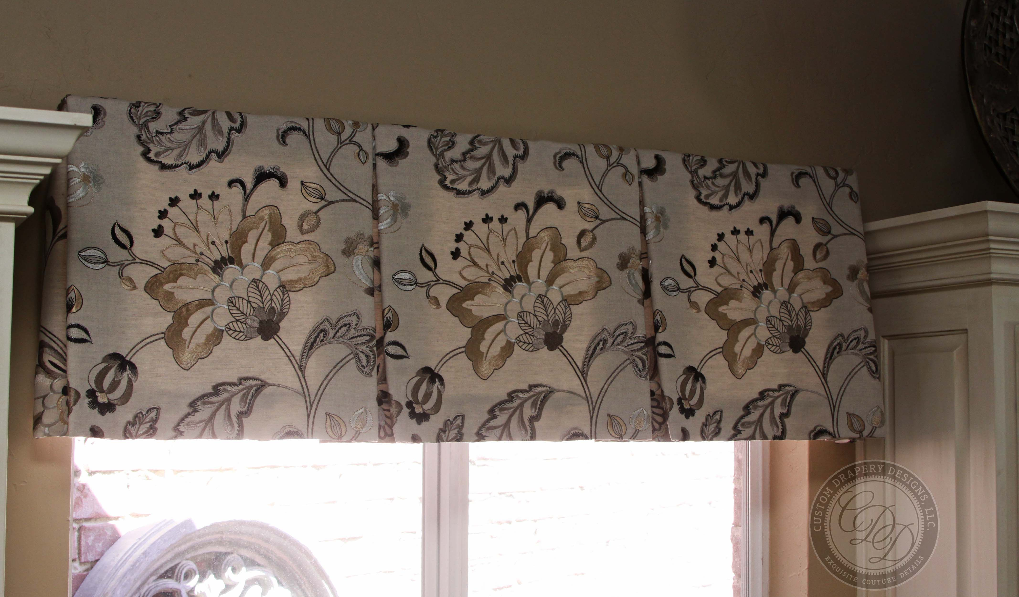 Tailored Valance With Warm Fl Print Fabric Installed In Kitchen Window