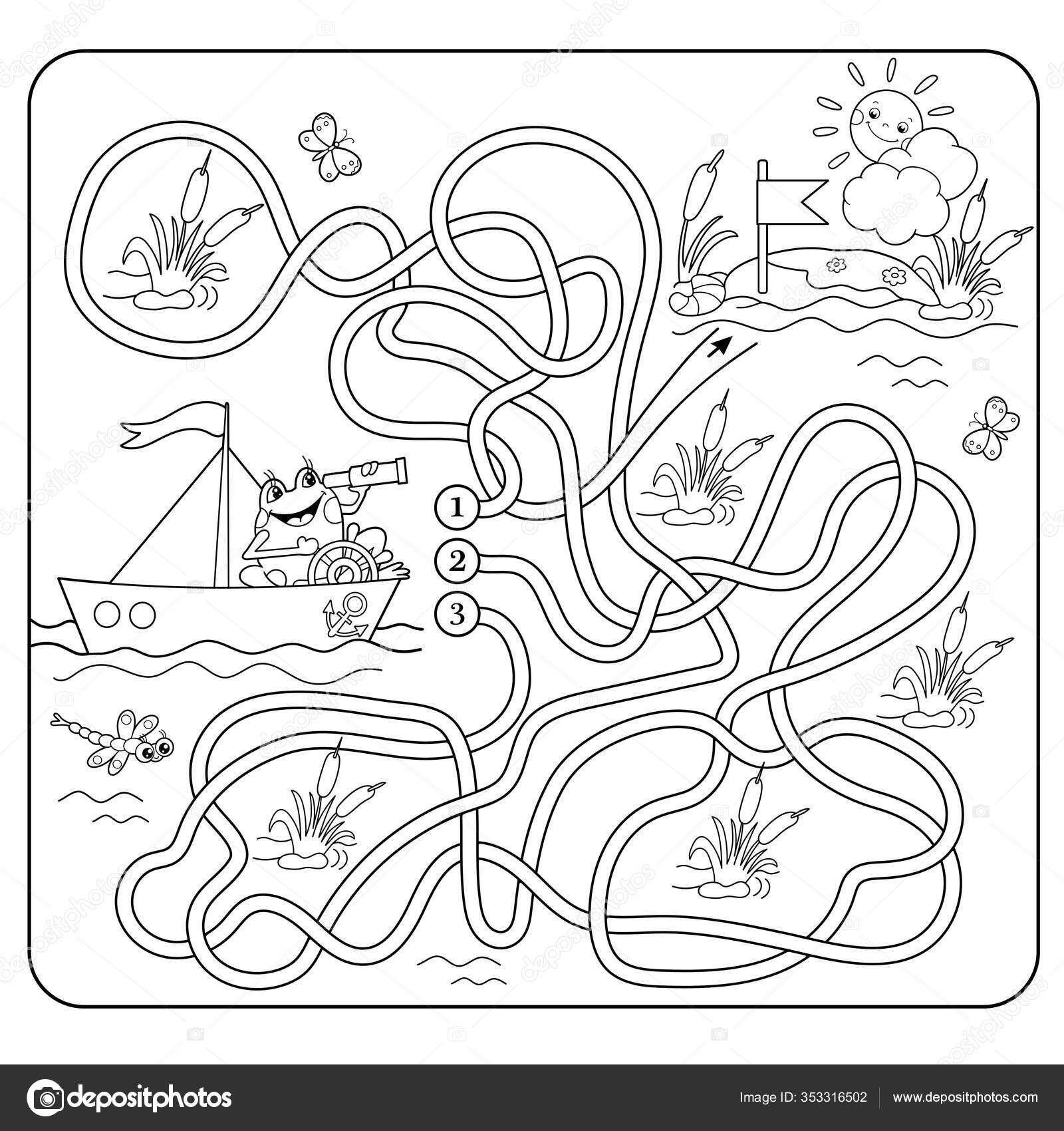 就学前の子供のための迷路や迷路ゲーム パズルだ 交差路だ マッチングゲーム ぬりえページ漫画カエルの概要 子供のためのぬり絵 迷路 ぬり絵 漫画