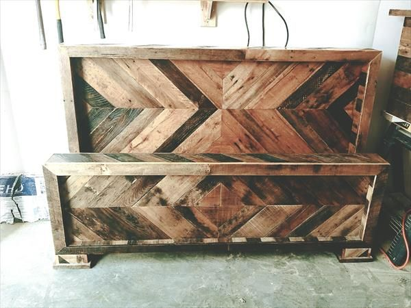 pallet chevron headboard and footboard set (Diy Pallet Headboard)