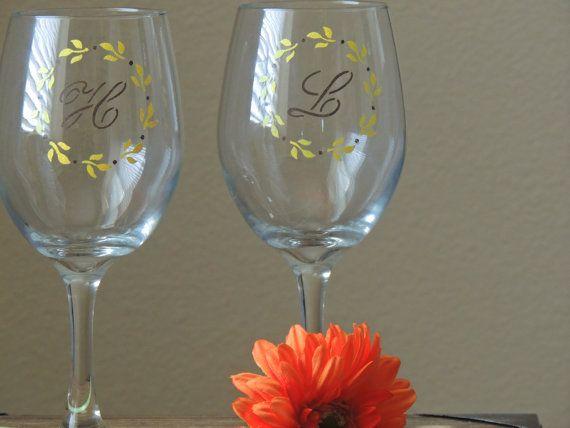 Monogrammed wine glass painted wine by ShopAroundTheCorner3