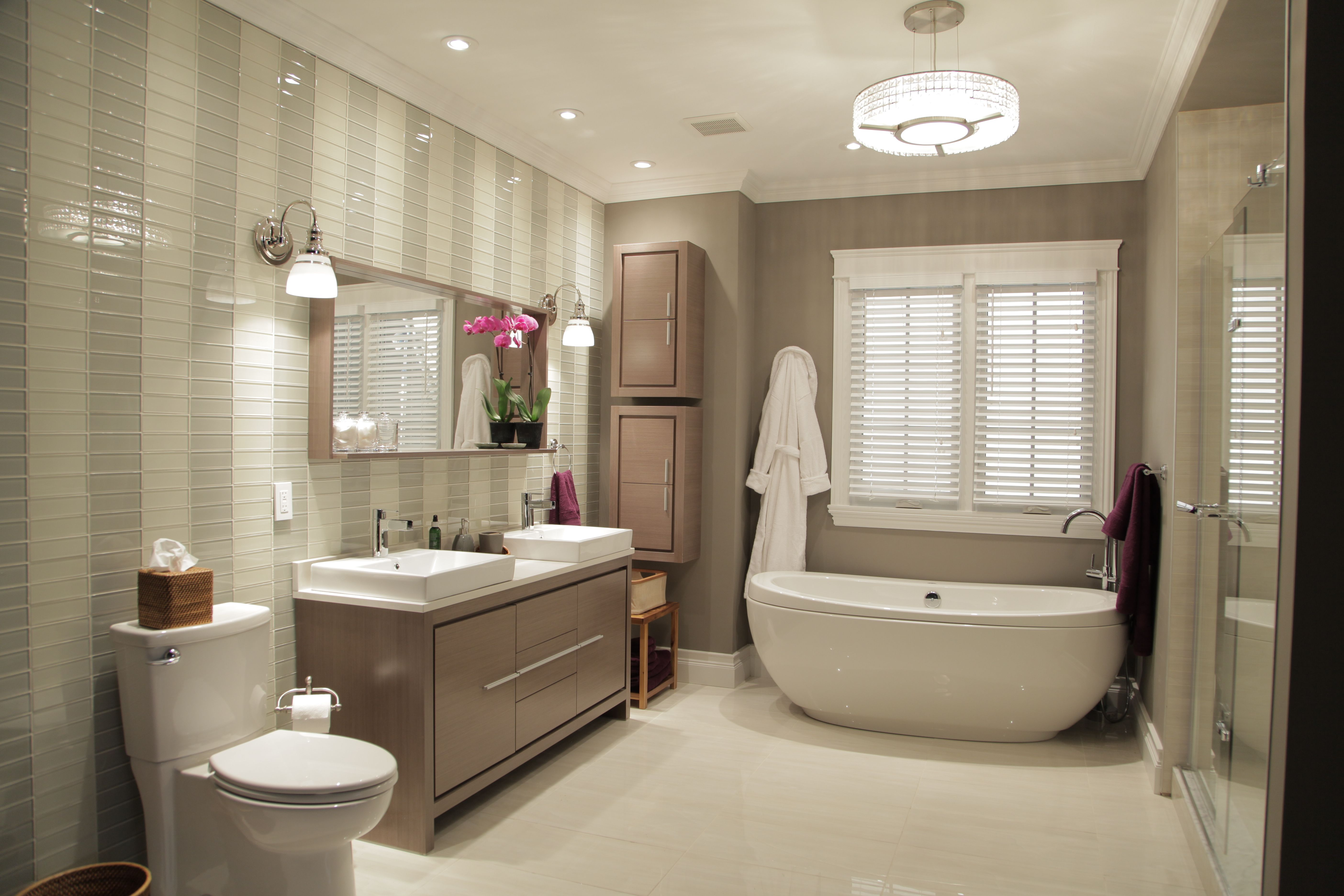 This beautiful spa like oasis features a contemporary - Bathroom vanity and mirror combo ...