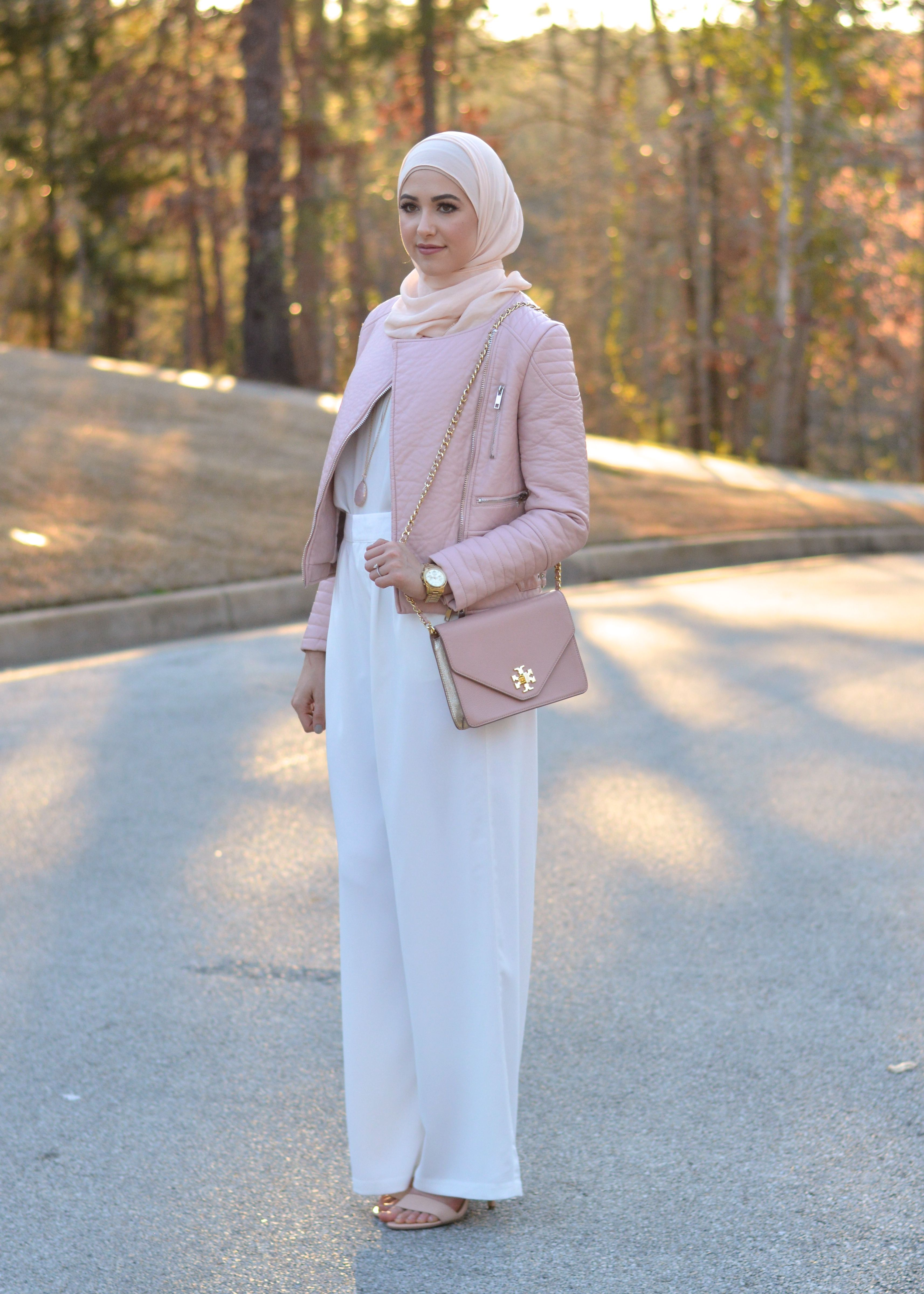 Leather jacket hijab - Pink Leather Jacket White Flowy Pants Tory Burch Kira Cross Body