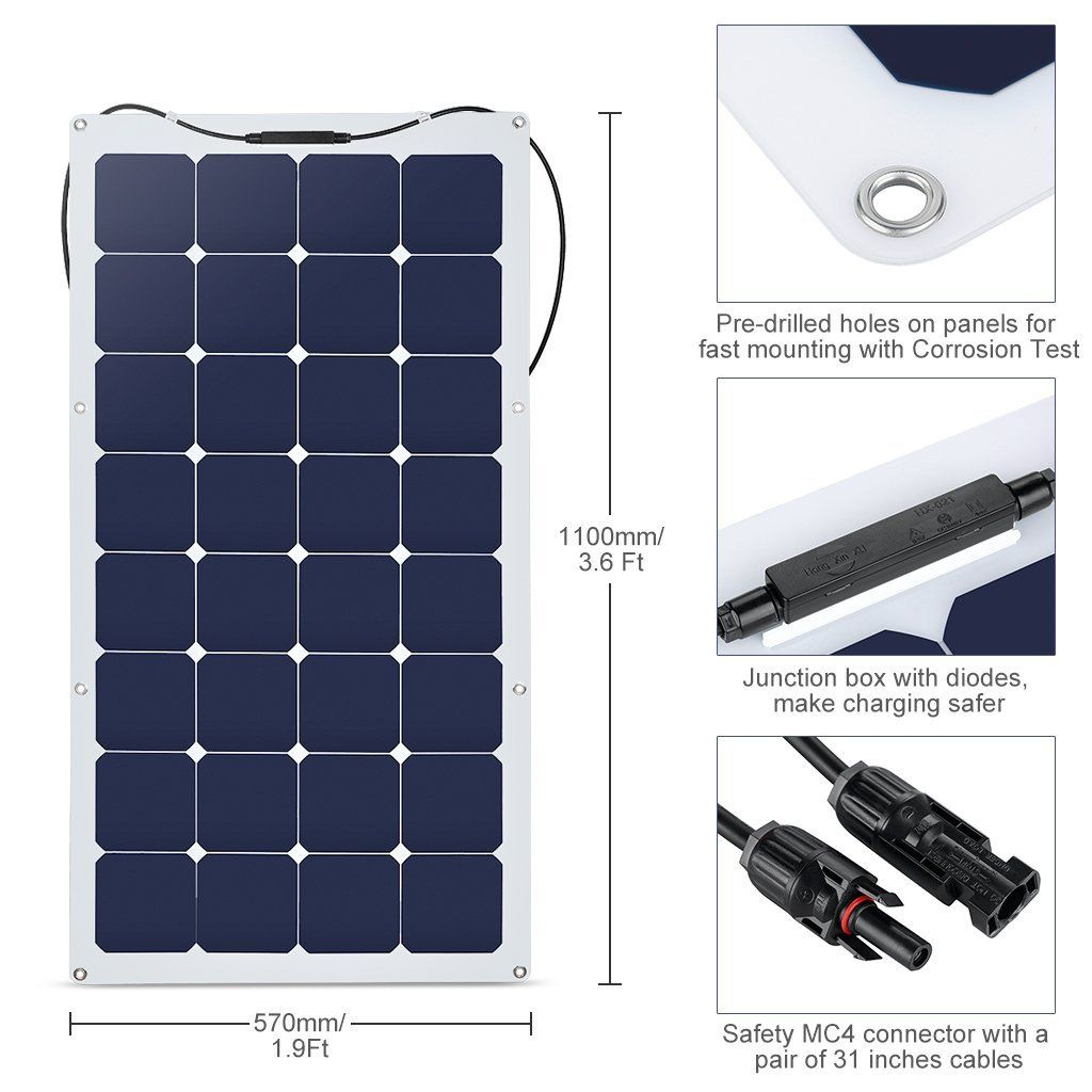 Suaoki 100w 18v 12v Solar Panel Charger Sunpower Cell Ultra Thin Flexible With Mc4 Connector Charging F With Images Solar Panel Charger 12v Solar Panel Solar Panel Battery