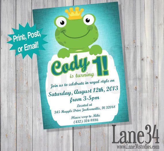 Frog Prince 1st Birthday Invitation Printable DIY By Lane34Party Boy Ideas