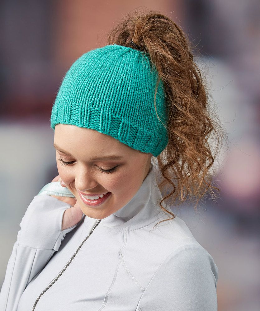Messy bun knit hat red heart knitting patterns pinterest free knitting pattern for easy messy bun hat laura bains easy ponytail hat is knit in the round bankloansurffo Images