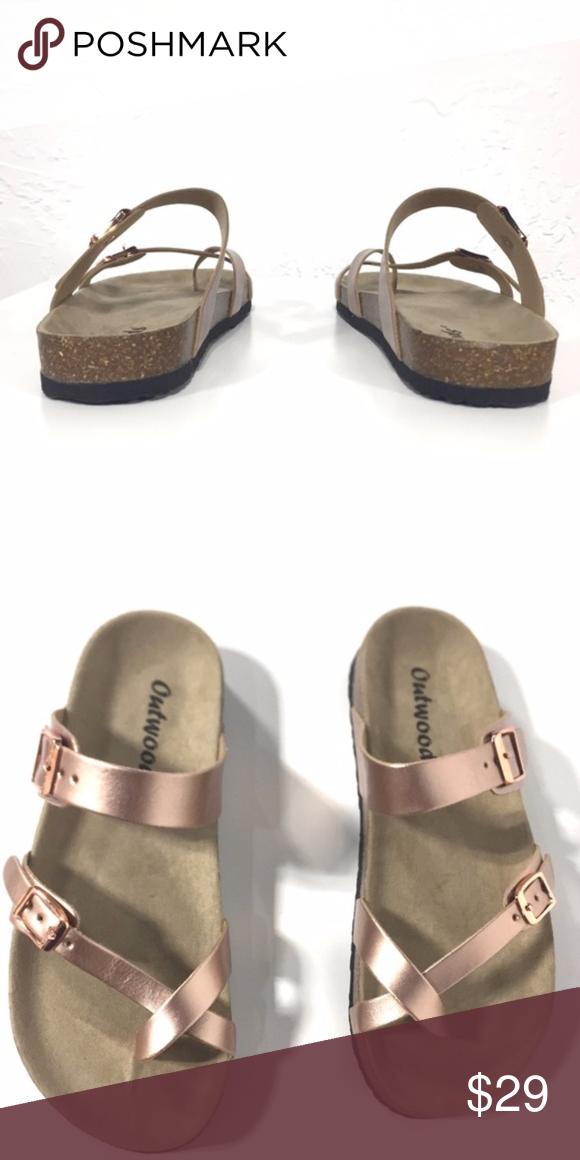 7dd70c3b69f9 Outwoods Rose Gold Sandals Comfy sandals in a vibrant rose gold color.  Medium width and true to size. Outwoods Shoes Sandals