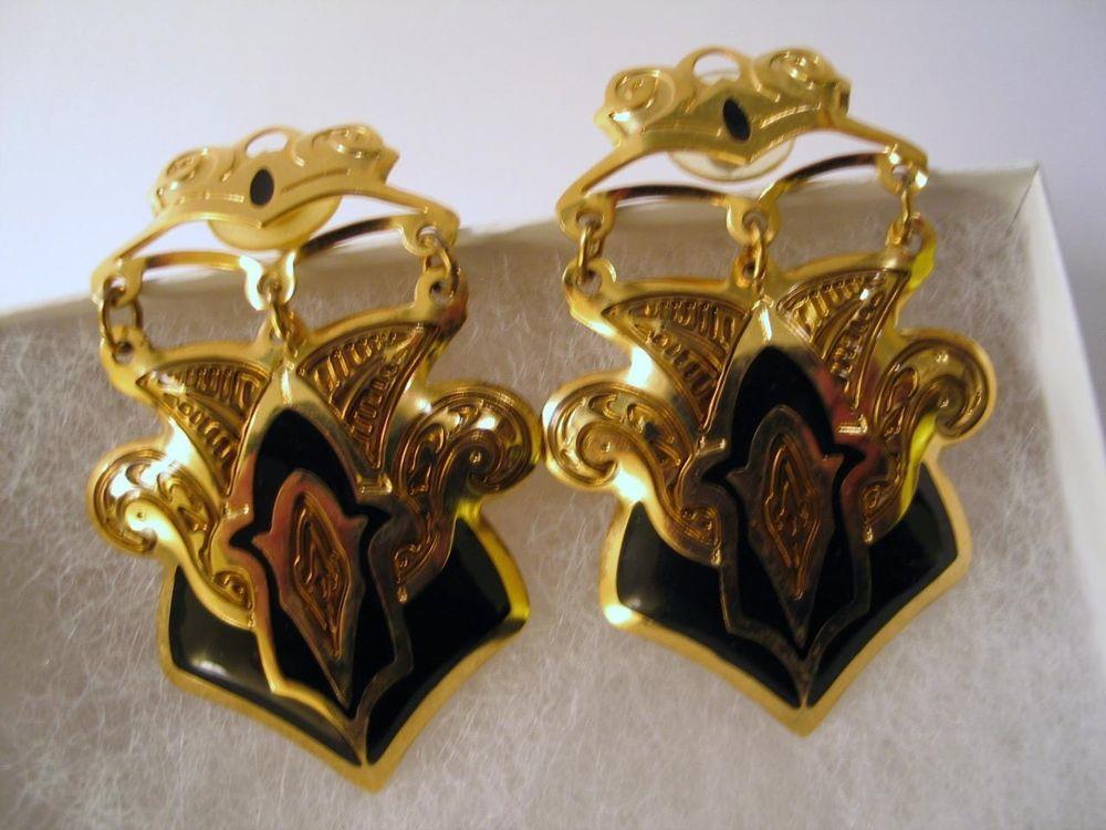 Edgar Berebi Earrings Etruscan Motif Goldplated Black Enamel Dangle 80s Designer Dropdangle