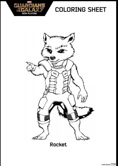 Guardians Of The Galaxy Coloring Pages Rocket Guardiansofthegalaxy Disney