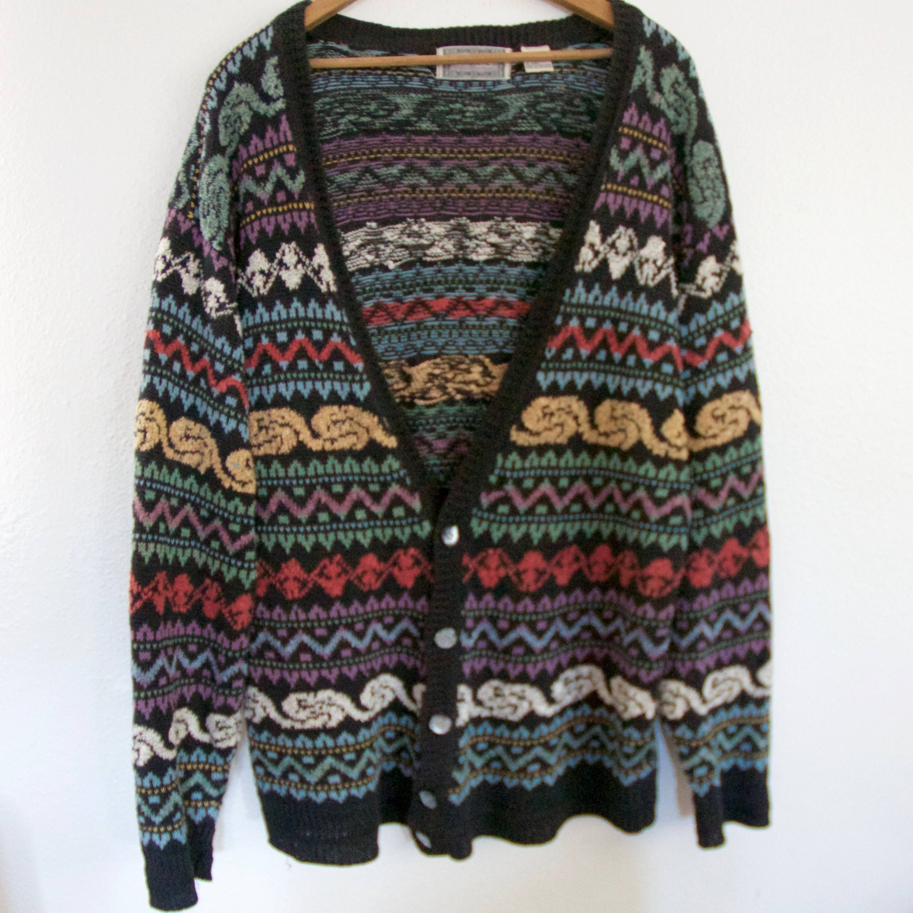 892a49002782a 80s Tribal Concrete Mix Cardigan Sweater   Thick Knit Geometric Tribal Aztec  Abalone Shell Buttons   Oversized Small Unisex Crochet Jacket by ...