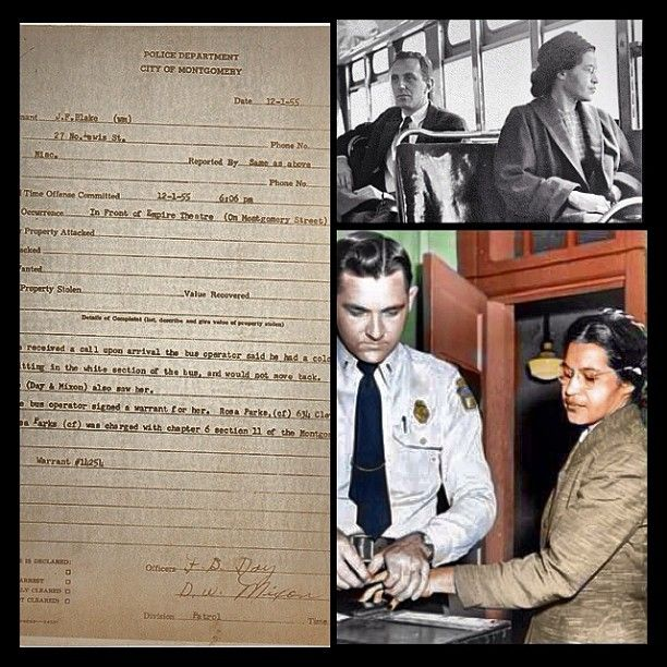 Ms Rosa Parks arrest report (December 1, 1955) from the