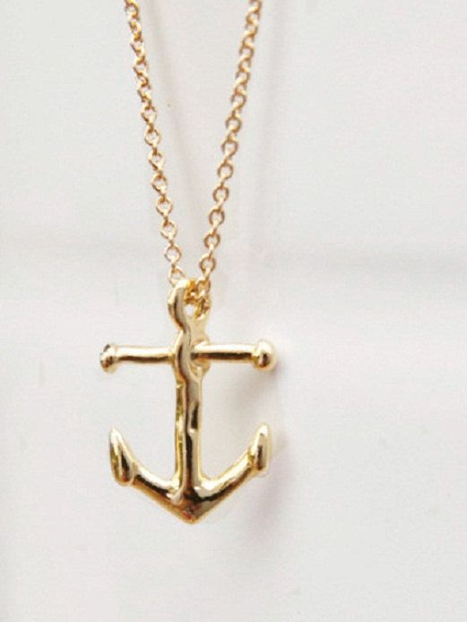 Gold Nautical Anchor Necklace Nautical Charm Handcrafted Dainty