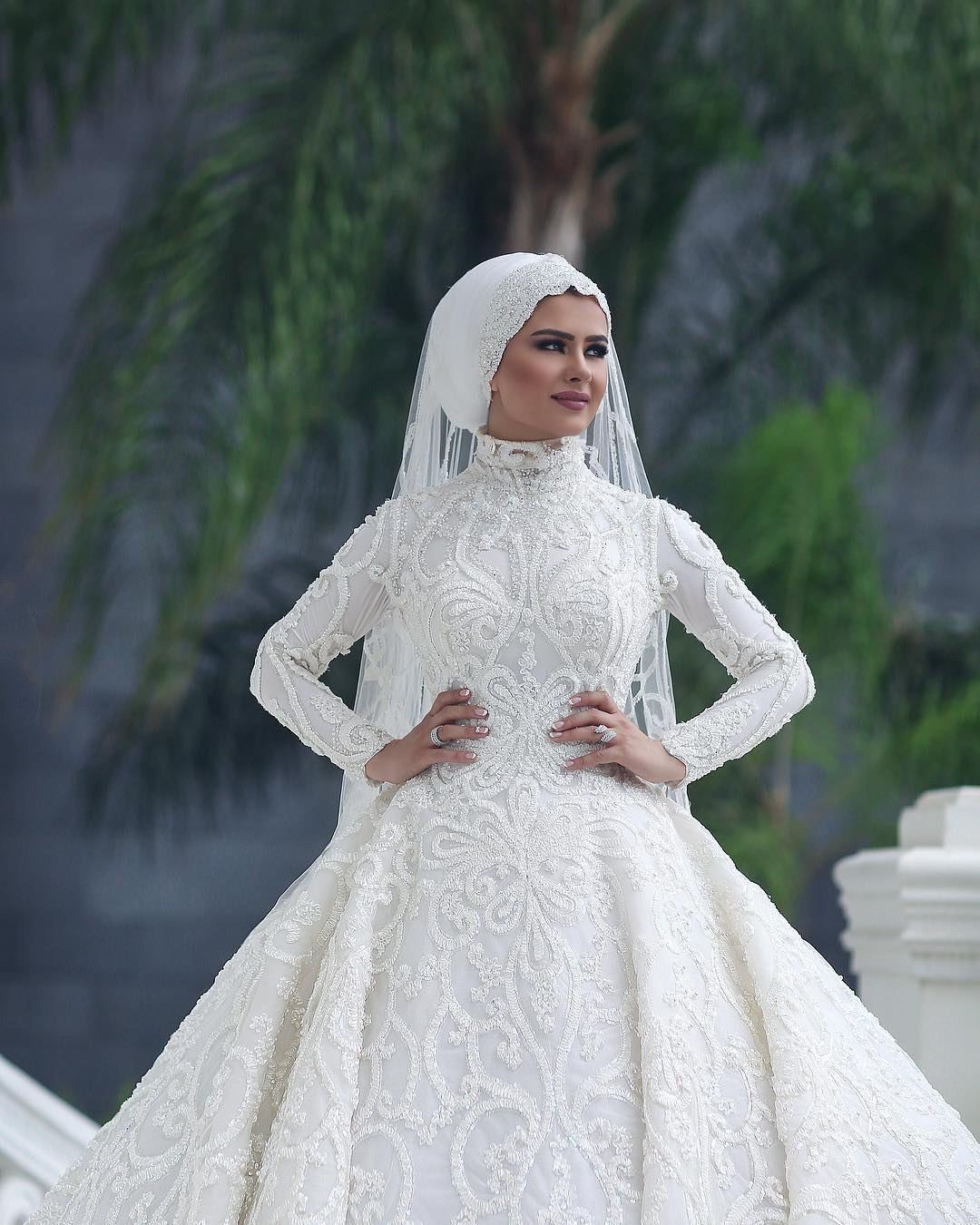 A beautiful selection of Muslim bridal dresses. Hijab style will