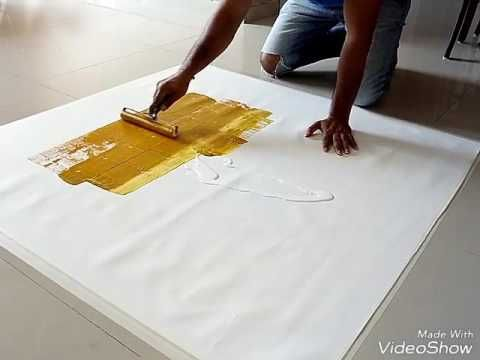 Acrylic abstract painting demonstration