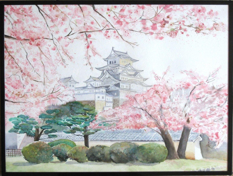 tableau ch teau d 39 himeji paysage japonais aquarelle aquarelle en 2019 japon paysage. Black Bedroom Furniture Sets. Home Design Ideas