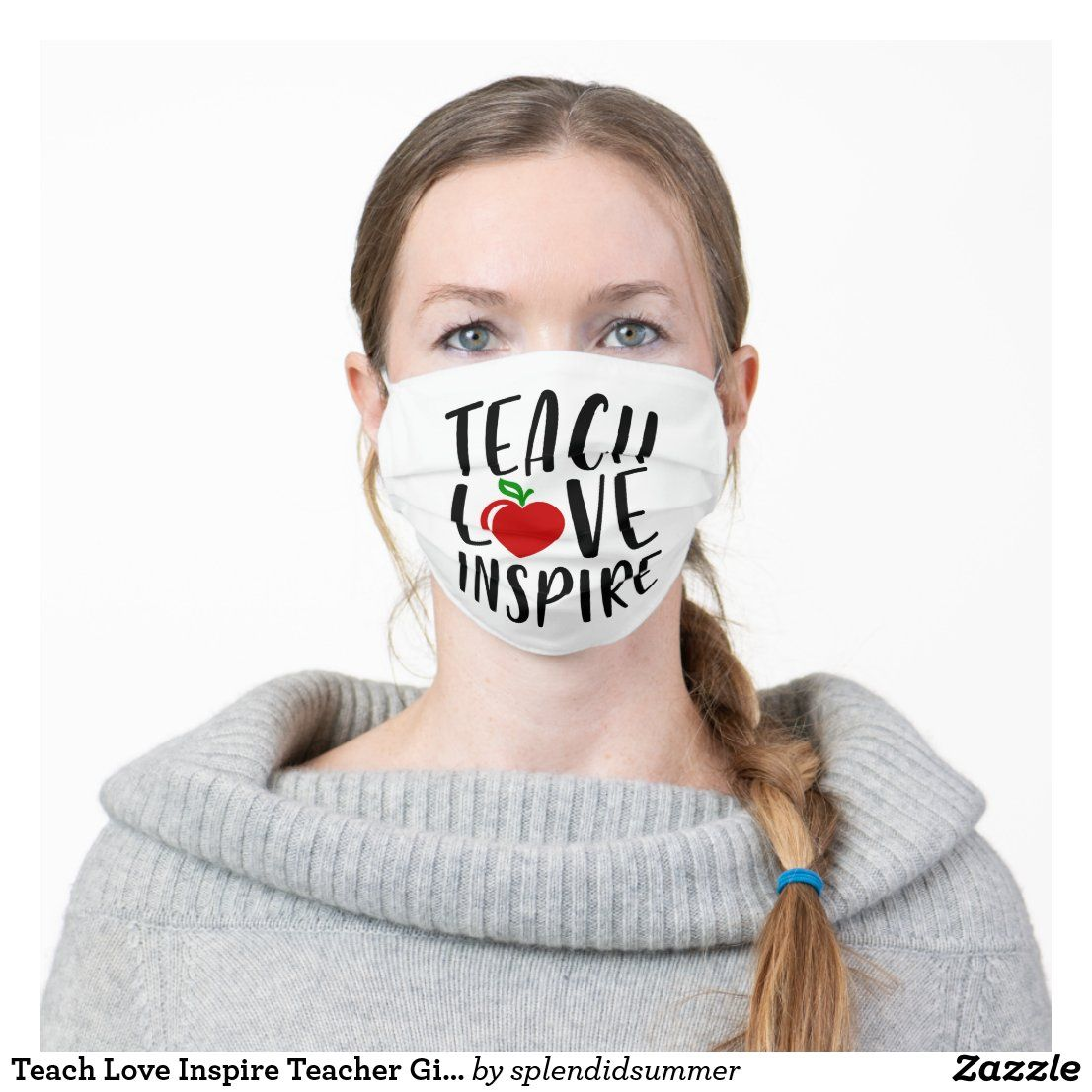 Teach Love Inspire Teacher Gift Cloth Face Mask Zazzle Com In 2020 Mouth Mask Fashion Face Mask Mask