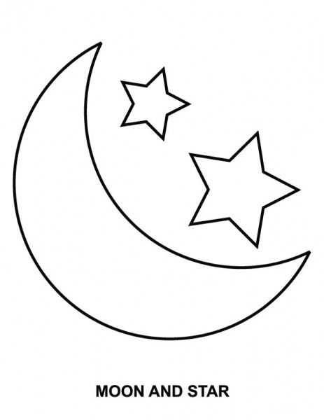 Easy Moon And Stars Coloring Page Cartoon Characers Star
