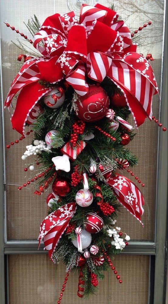 "PEPPERMINT HOLIDAY"" - 33"" Decorative Christmas Candy Teardrop Swag |  Christmas wreaths diy, Christmas wreaths, Christmas swags"
