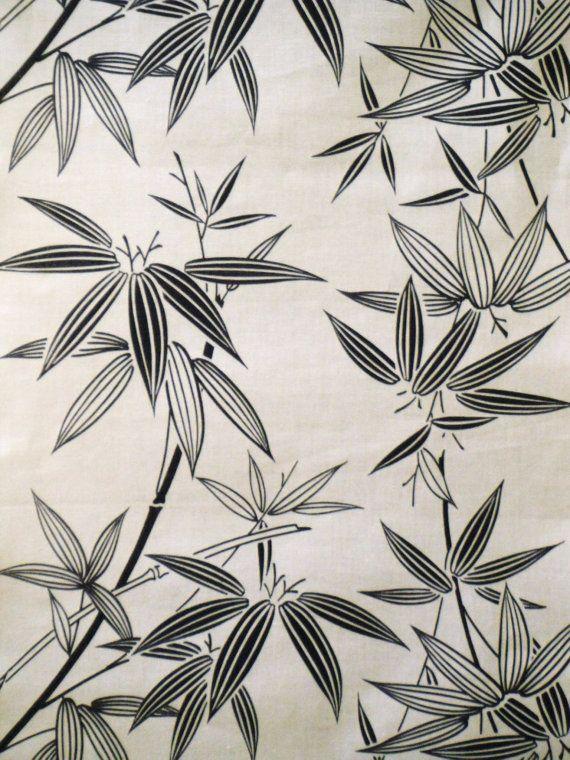 Indigo Bamboo Vintage Japanese Cotton Kimono Fabric Vintage