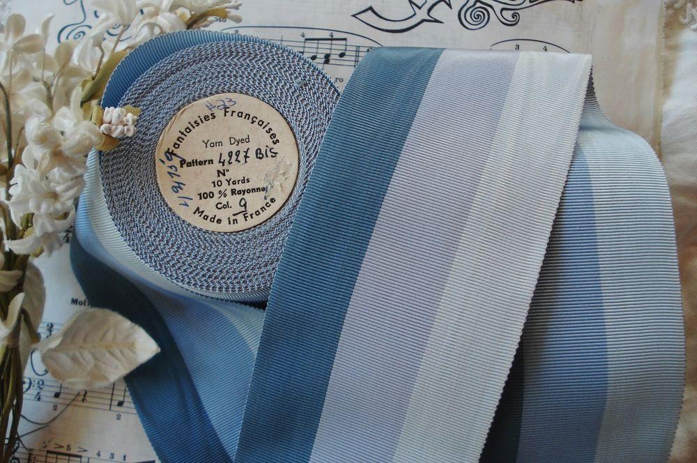 3y BLUE WHT STRIPE GROSGRAIN PETERSHAM HAT RIBBON MILLINERY TRIM JACQUARD VTG