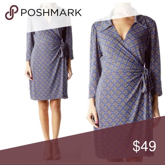 Laundry Shelli Segal Blue Geo Print Wrap Dress Printed Wrap