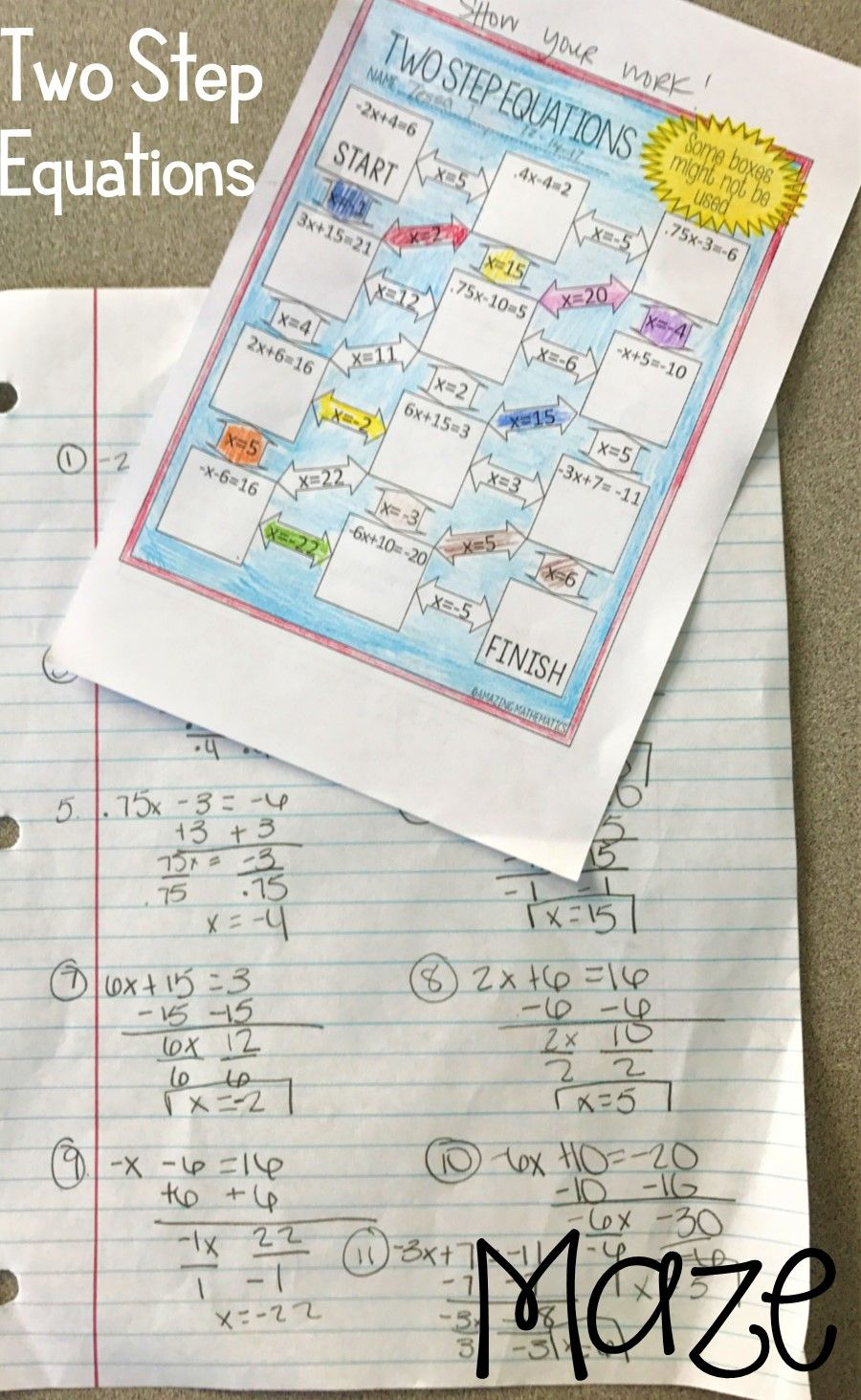 medium resolution of Two Step Equations Worksheet - Maze Activity   Solving equations activity