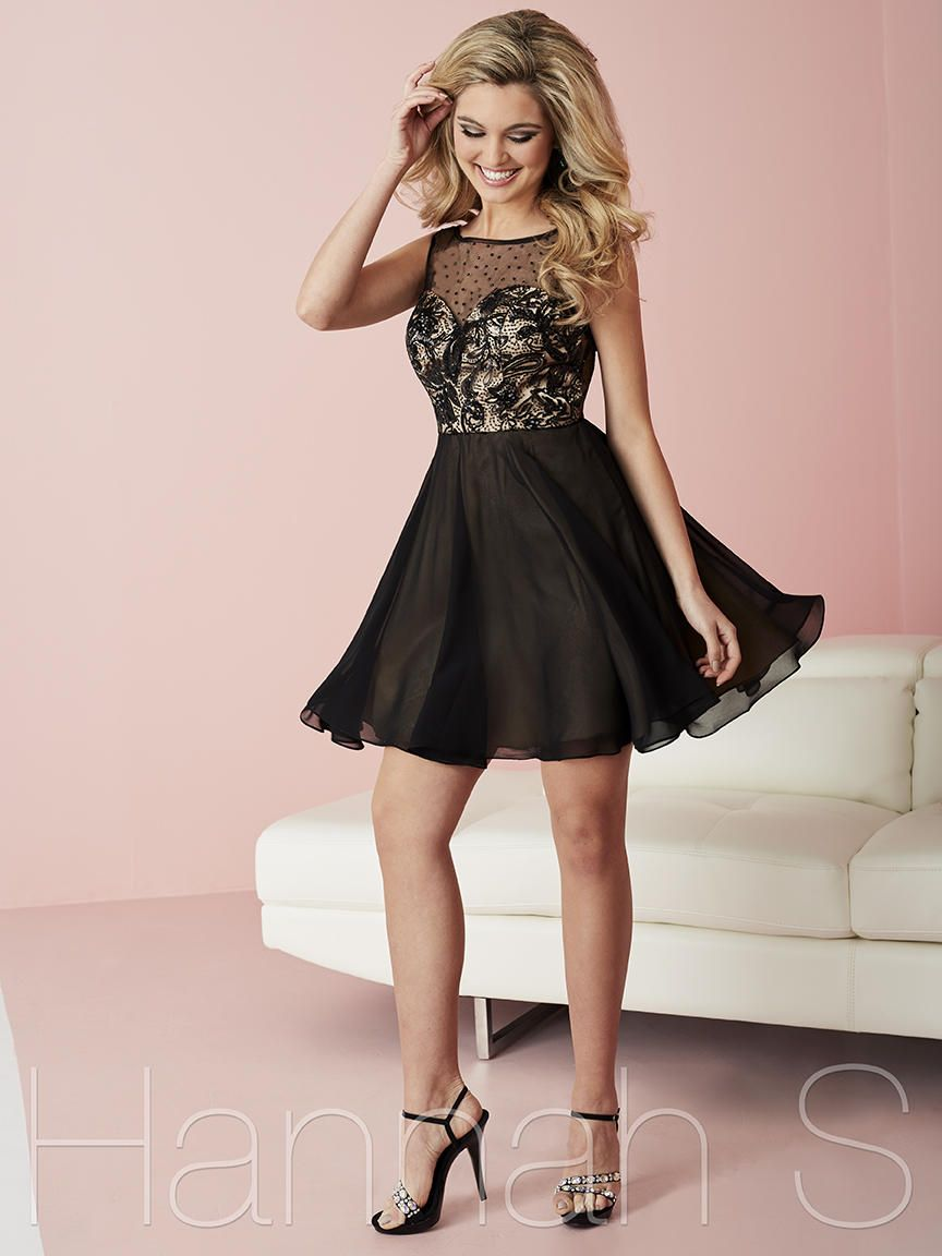 b89a0f625992 Size 2 Black-Nude Hannah S 27102 Sequin Lace Short Homecoming Dress ...