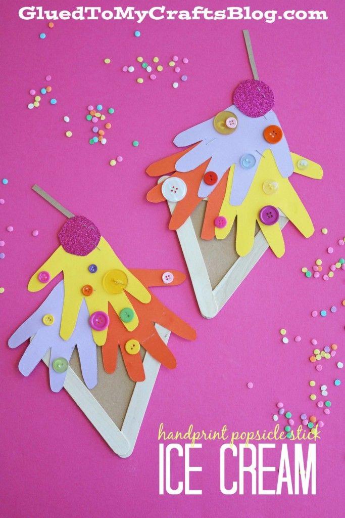 Handprint popsicle stick ice cream kid craft ice cream for Popsicle crafts for kids