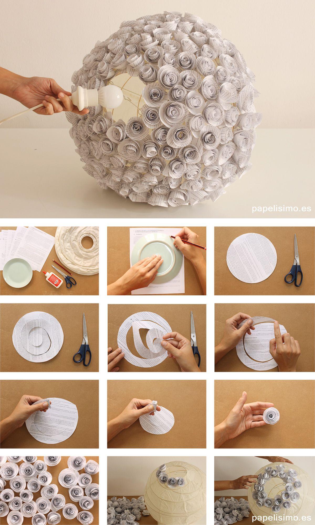 recicladas flores Cómo papel paper de de lampara lamp hacer 9IE2DYeWH