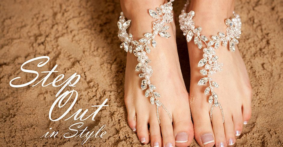 Chunky Crystal Diamante Bridal Barefoot Sandals Perfect For A Beach Wedding