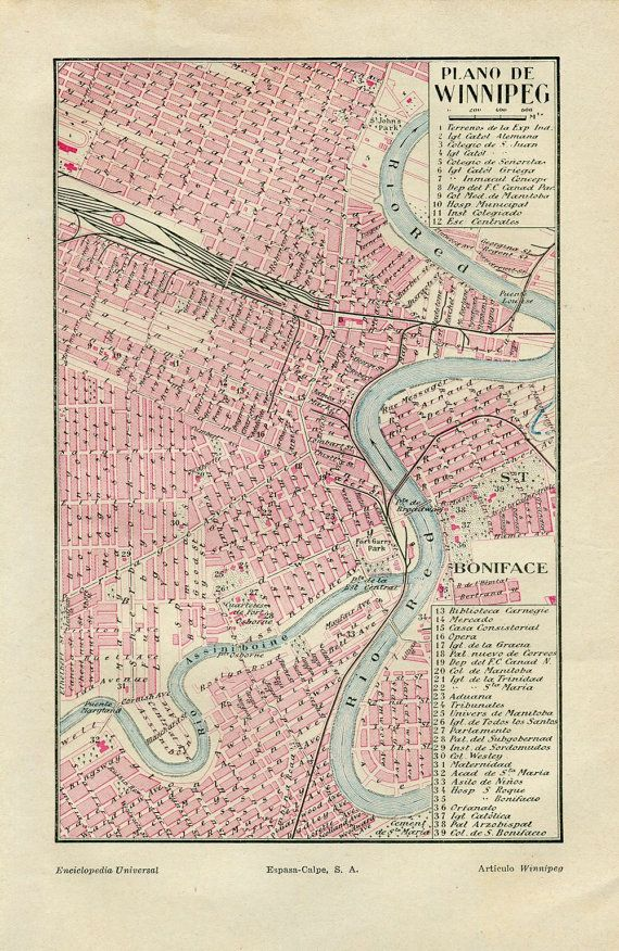 1920s Winnipeg Canada Original Vintage City Map Street Plan 1920s ...