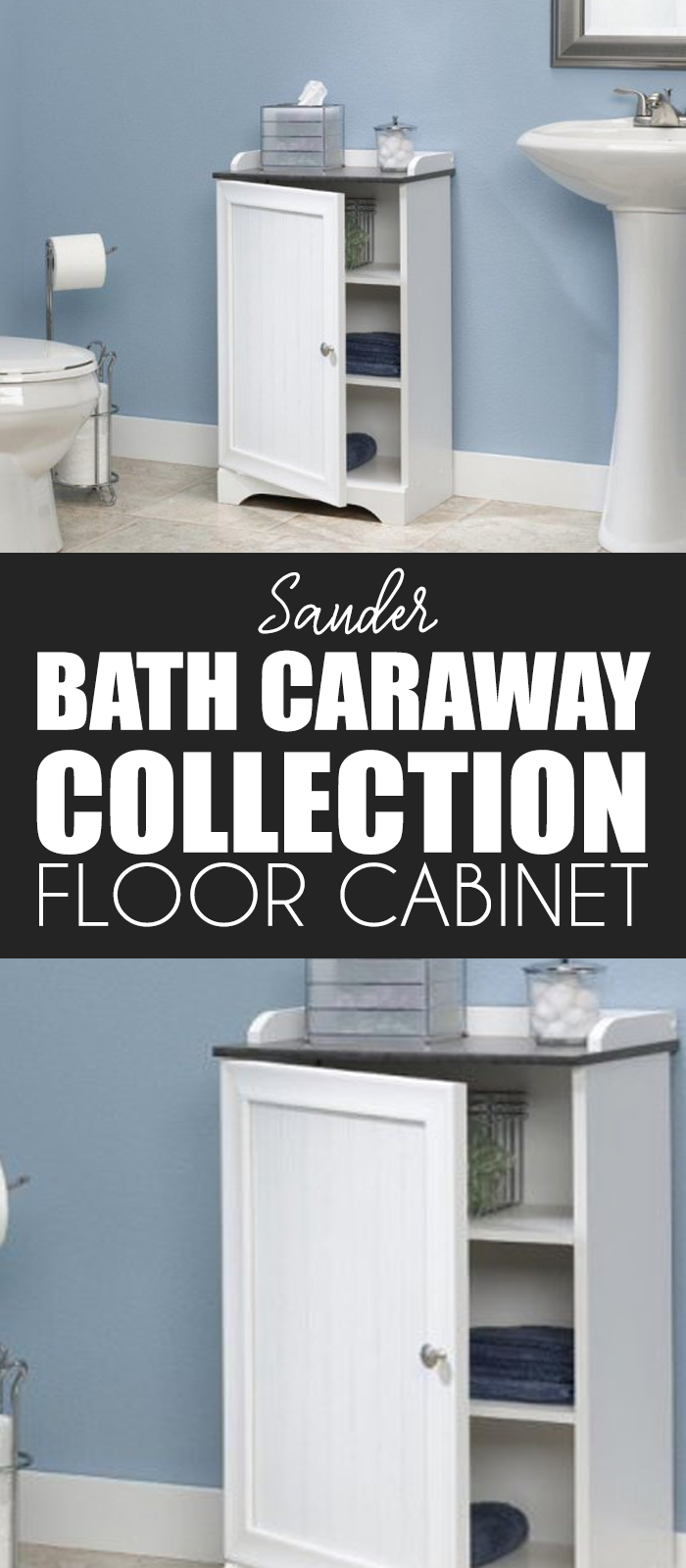 The Sauder Bath Caraway Collection Floor Cabinet Features A Frame And Panel Door With Bead Board Insert That Opens Smoothly To Reveal Not One