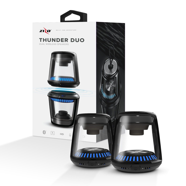LG Class - ZIZO THUNDER DUO TWS Wireless Bluetooth Speaker LED Illuminated, Black