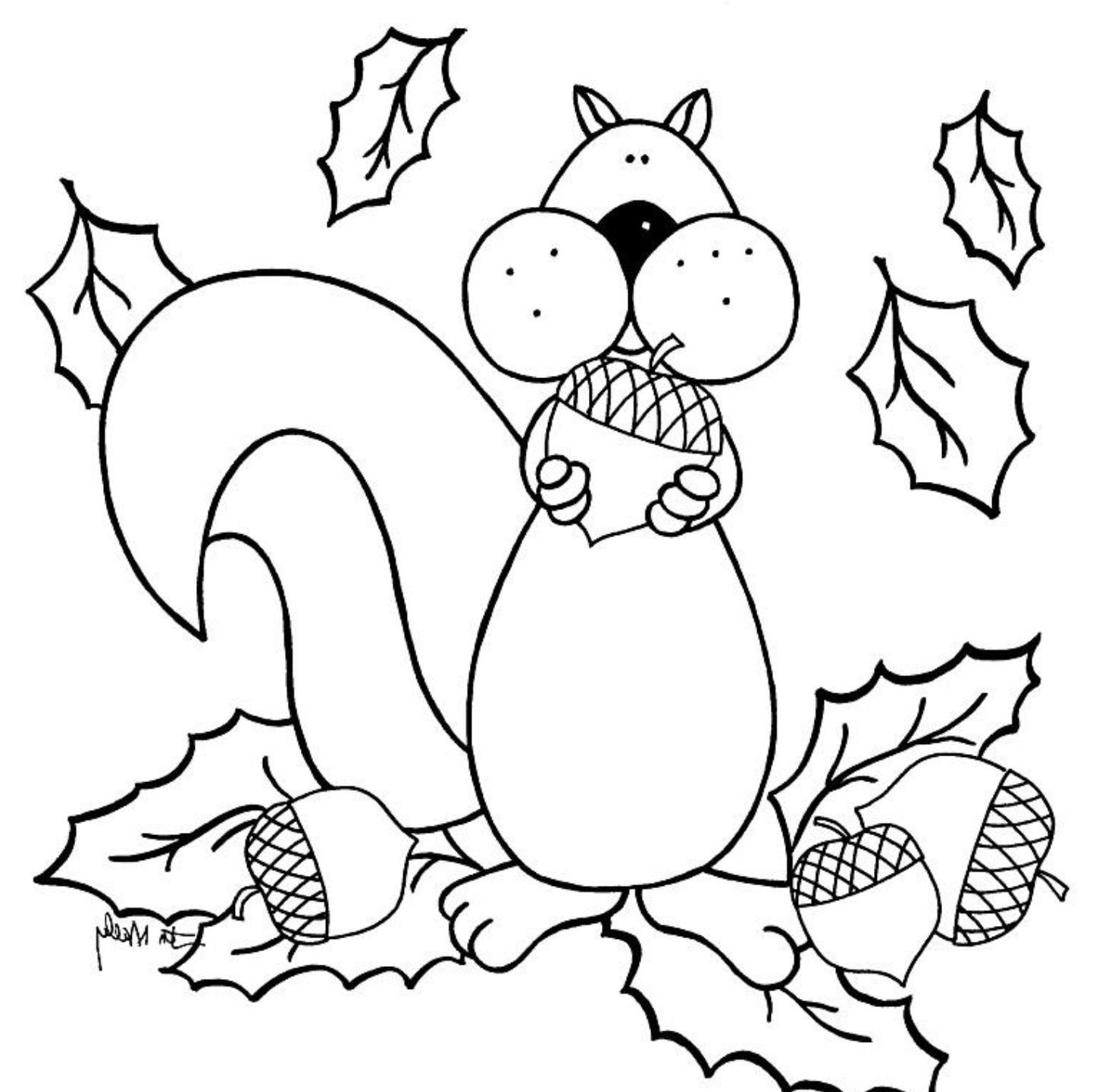 Preschool Fall Coloring Pages Squirrel coloring page