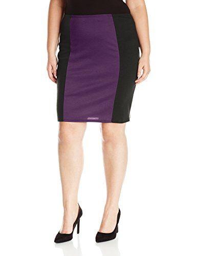 ab98d673be Star Vixen Women's Plus Size Knee Length Slimming Colorblock Ponte Knit Pencil  Skirt with Back Slit