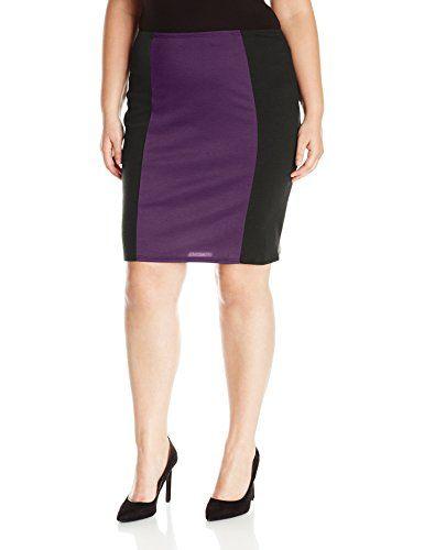 068458f84a Star Vixen Women's Plus Size Knee Length Slimming Colorblock Ponte Knit  Pencil Skirt with Back Slit