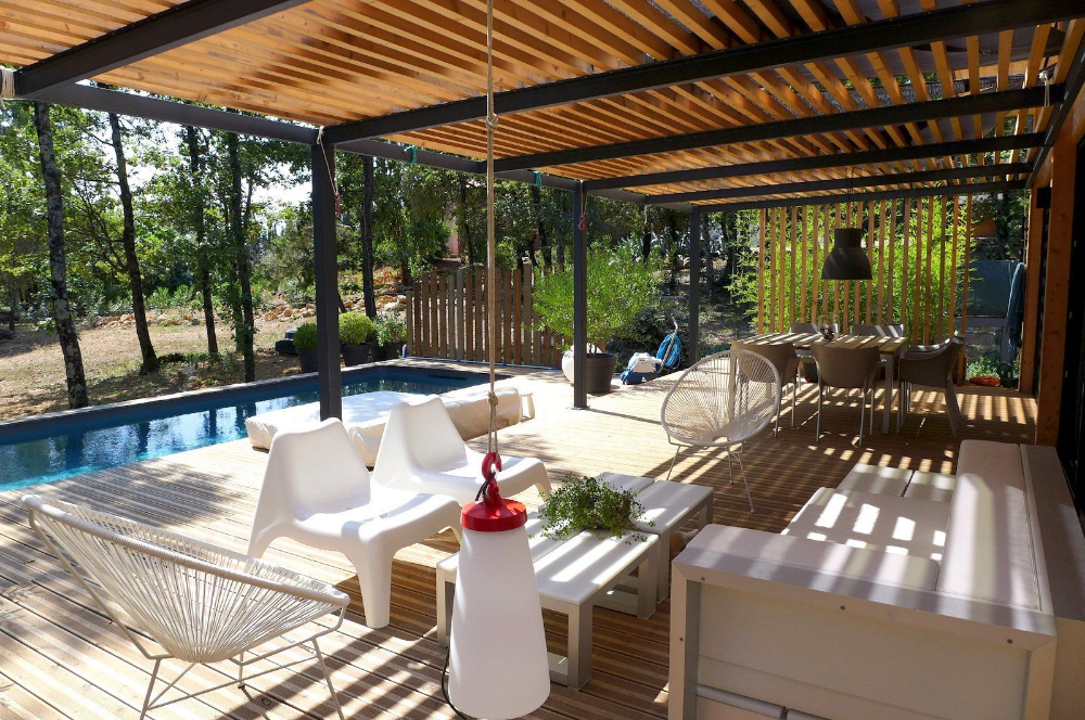 Terrasse Couverte Avec Pergola Canisse Voile Terrasse Couverte Maison Ossature Bois Et Pergola