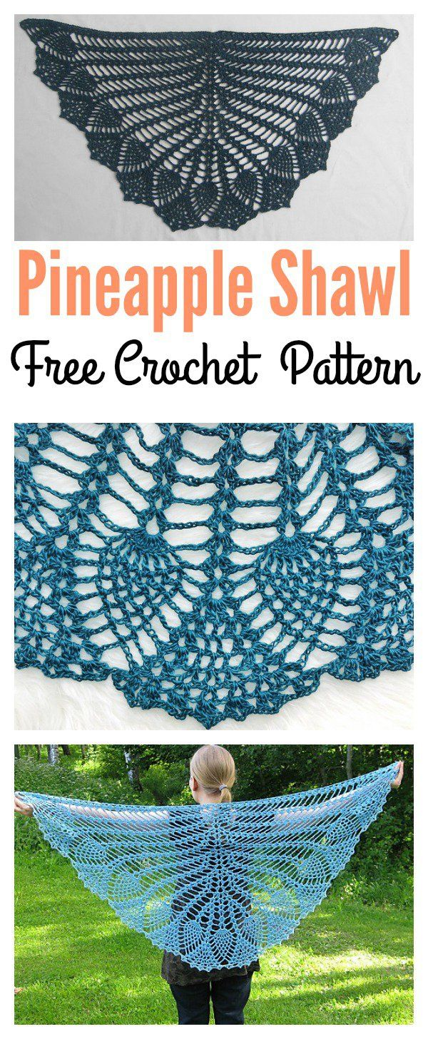 Pineapple Peacock Shawl Free Crochet Pattern | Ganchillo, Chal y ...