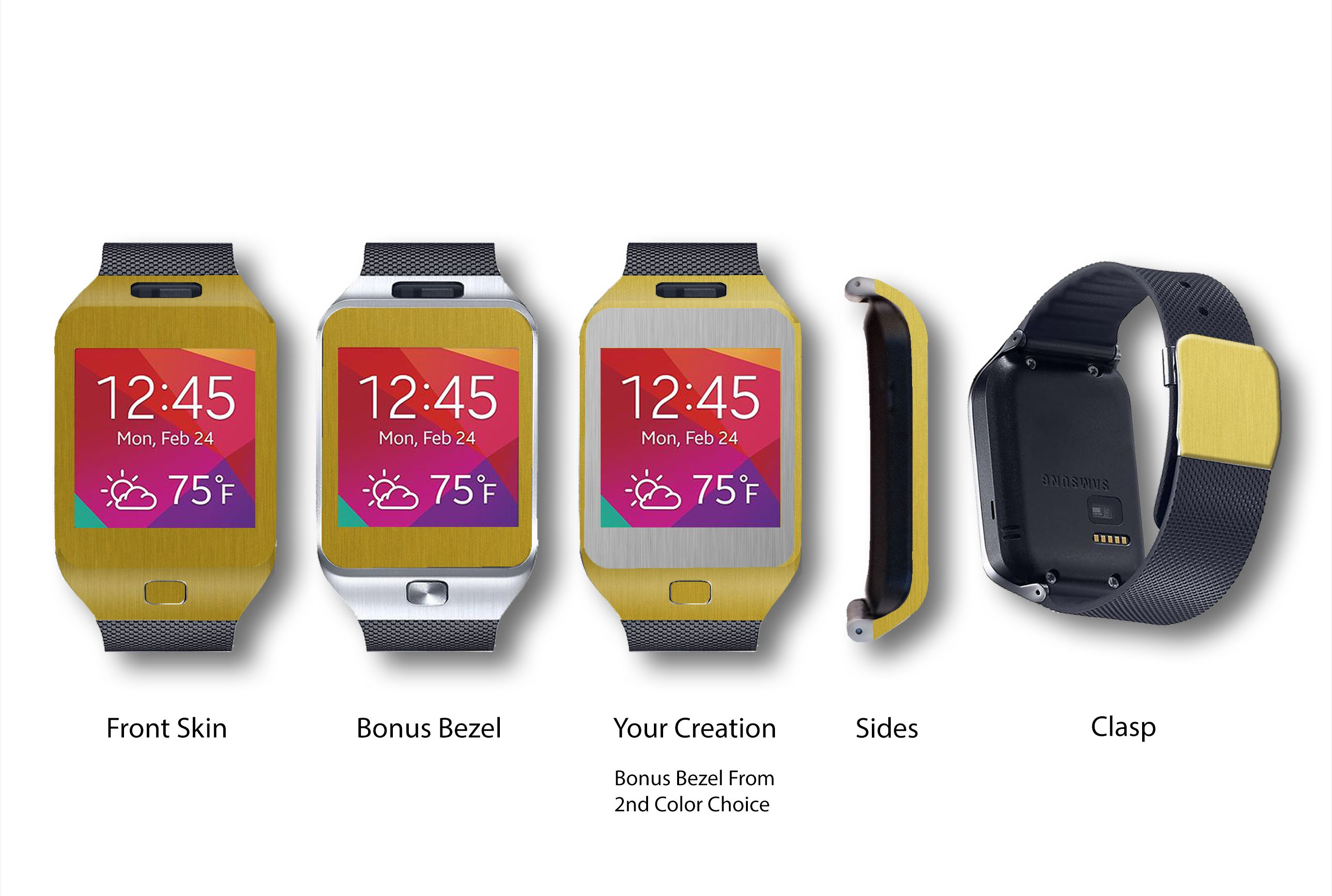 Gold Brushed Aluminum #Samsung #Galaxy #Gear #Gear2 #Watch #SmartWatch #Android #Phone #Phones #Technology #Electronics #Gadgets #Metal #Metallic #Gold #Graphite #Silver #RoseGold #SlateJetBlack #Stickerboy #Sticker #Stickers #Skin #Skins #Wrap #Wraps #Decal #Decals #Protection #Protector #Shield #Shields #Vinyls #3M