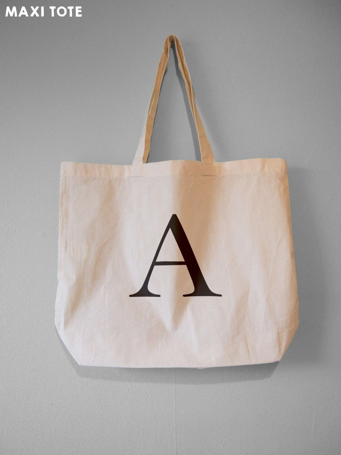 04a02a8fe Monogram Tote, Alphabet Bag, Choose Your Letter - Natural Cotton Tote Bag /Maxi