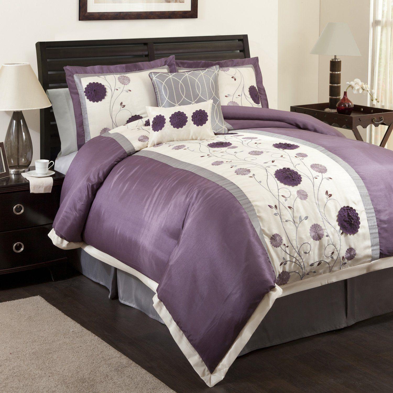Amazon Com Lush Decor Juliana 6 Piece Comforter Set Queen Purple Gray Home Kitchen Comforter Sets Purple Comforter Bedding Sets