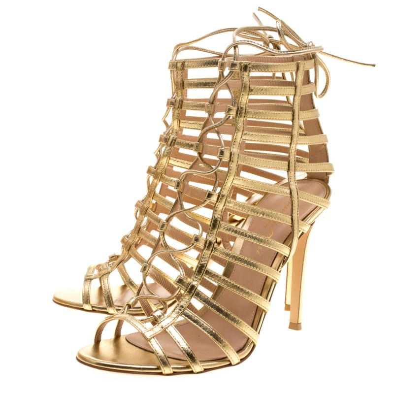61ed15688 Buy Gianvito Rossi Metallic Gold Leather Roxy Lace Up Caged Sandals Size 38  143512 at best