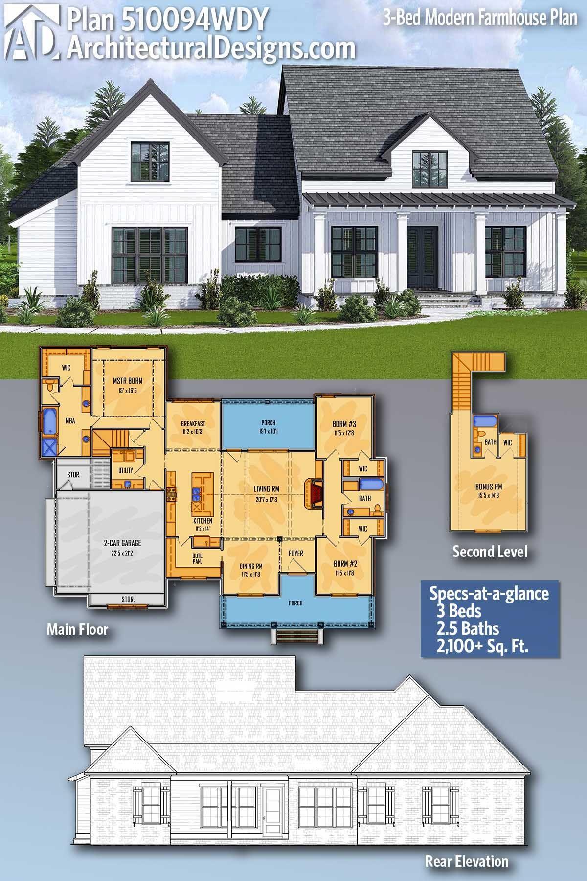 Plan 510094wdy 3 Bed Modern Farmhouse Plan With Walk Through Pantry And Bonus Room Modern Farmhouse Plans Farmhouse Plans New House Plans