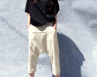 Photo of Tapered Pants/Loose Linen Pants/Casual Drop Crotch Pants/Wide Leg Pants/Straight Leg Pants/Handmade Trousers/White Linen Pants/F1554