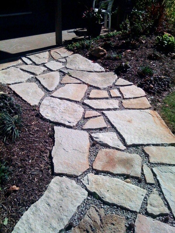Rock Pathways white curving sandstone stepper path   my stuff   pinterest