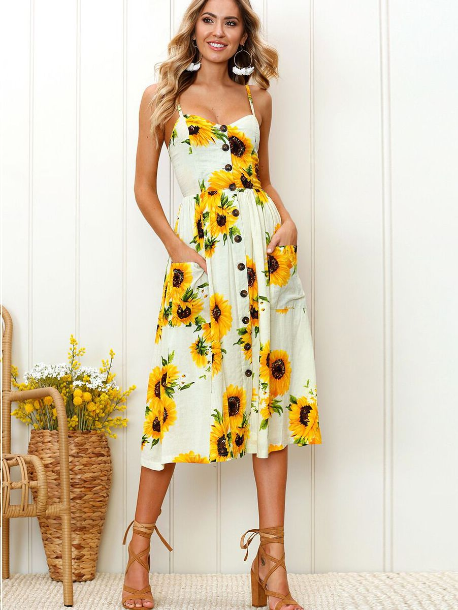 Straps sunflower printed dress with pockets in womenus