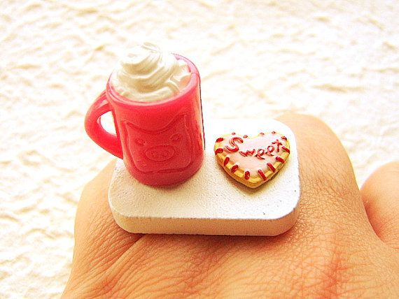 Hot chocolate and cookie ring. @ http://www.etsy.com/shop/SouZouCreations?ref=seller_info