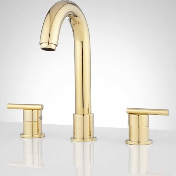 Lester Widespread Bathroom Faucet, No Overflow, Polished Brass ...