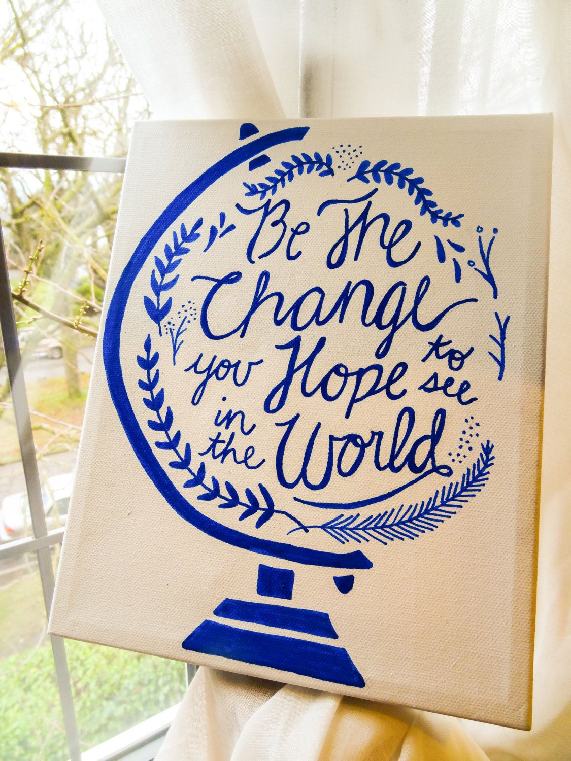 Quotes About Painting Be The Change Custom Quote Canvaslittletruths On Etsy Https